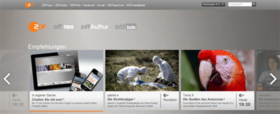 Screenshot vom ZDF-Relaunch