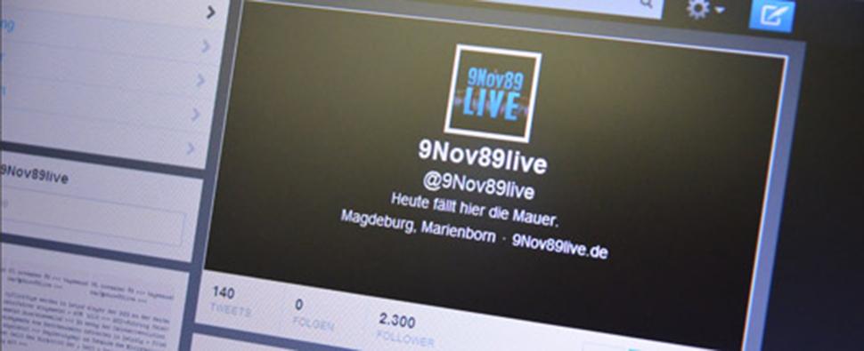 Website mit dem Logo von @9Nov89live