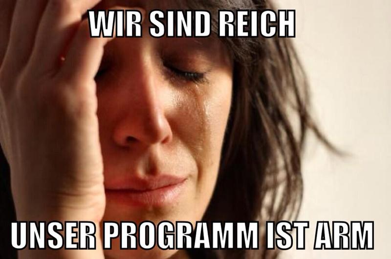 """Foto einer weinenden Frau mit der Beschriftung """"Wir sind reich. Unser Programm ist arm."""""""
