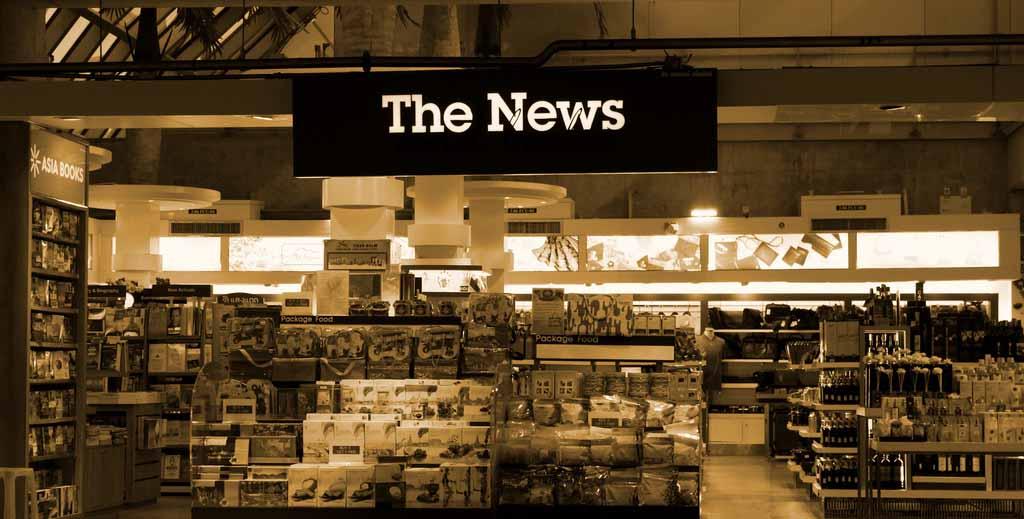 """Ein Schild mit der Aufschrift """"The News"""""""