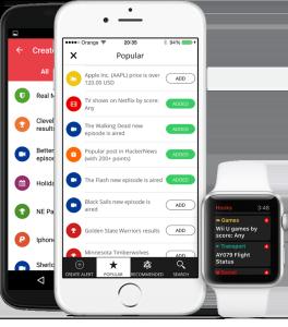 """Screenshot der App """"Hooks"""" auf Smartphone und Apple Watch"""