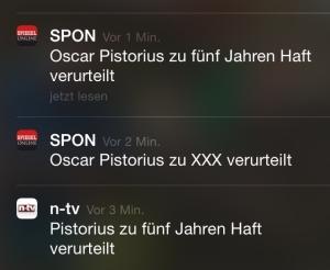 Screenshot mit drei Eilmeldungen zum Urteil gegen Oscar Pistorius